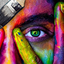 Regard peinture multicolore
